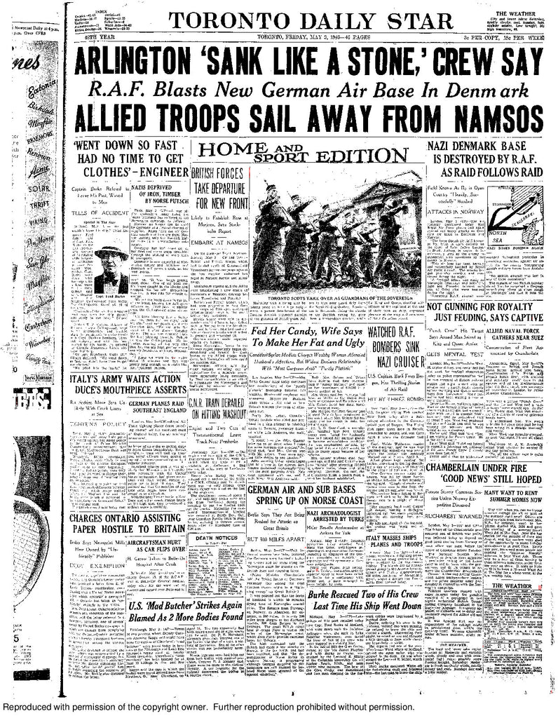 Front Page May 3, 1940