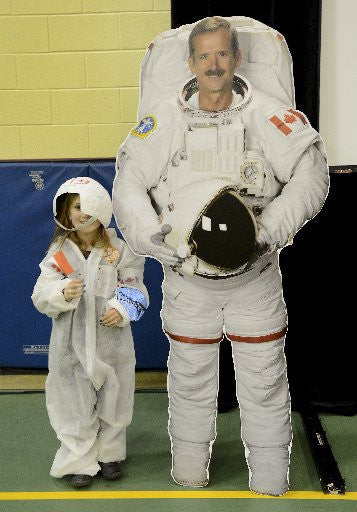 Grace Harwood with Chris Hadfield cutout