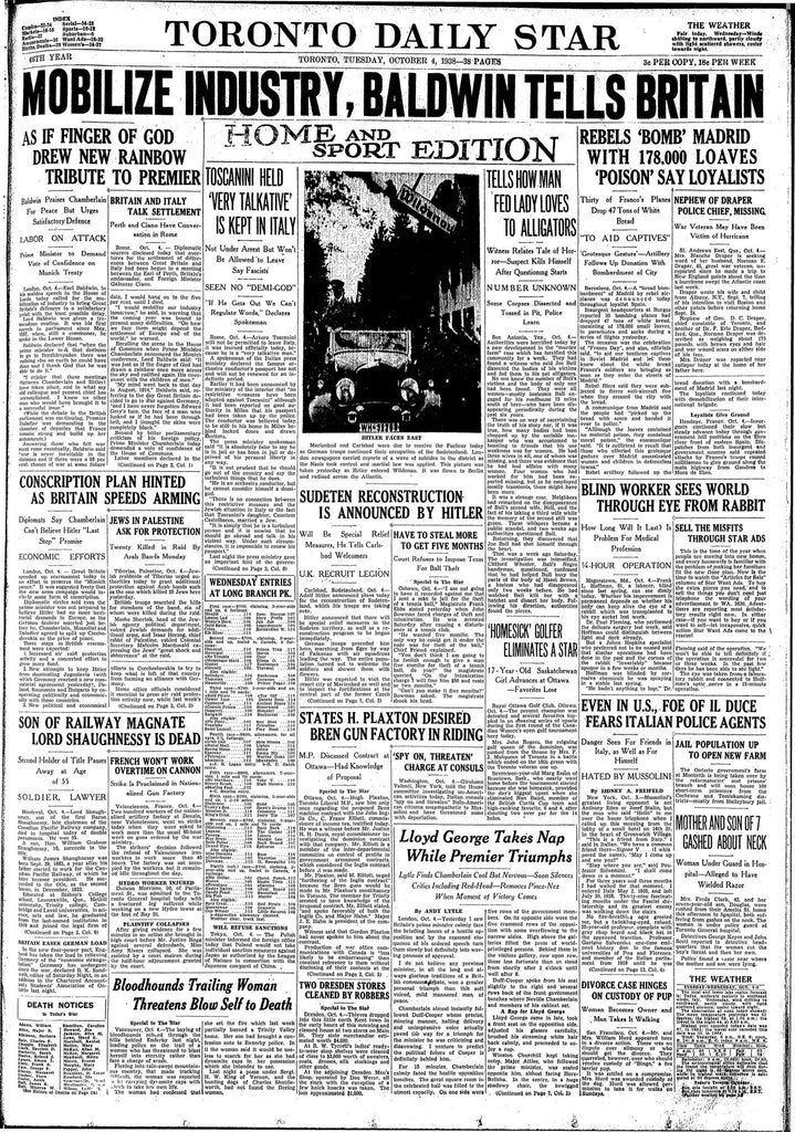 Copy of Tuesday October 4, 1938, Front Page