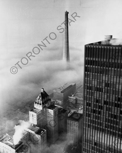 Image of Unfinished CN Tower in Fog photograph