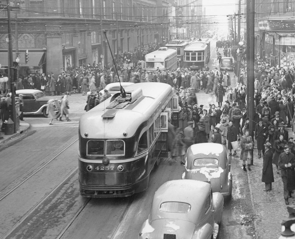 Streetcar at Yonge and Queen, 1944