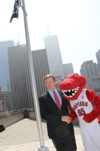 Raptors mascot and Tory