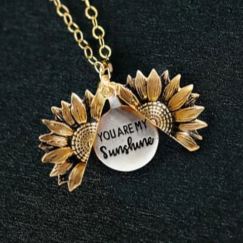50% off today - you are my sunshine sunflower necklace earth tones earth day