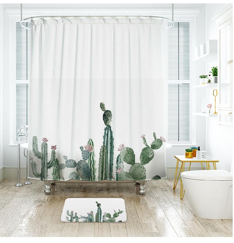"Up to 65% OFF - Shower Curtains - ""Early Riser"" - Nursery Series Cactus Shower Curtain 