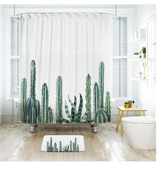 "Up to 65% OFF - Shower Curtains - ""Warm and Cozy"" - Nursery Series Cactus Shower Curtain 