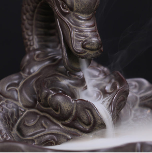 dragon incense burner breathing smoke backflow cones