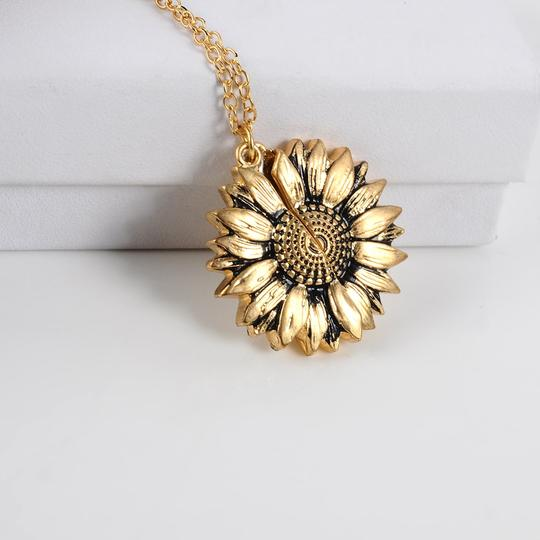 unique sunflower necklace that opens up with a hidden message you are my sunshine