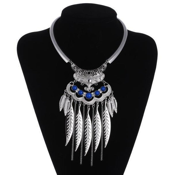 Up to 65% OFF -  - Bohemian Tribal Leaves Tassel Chocker Necklace | Wiki Wiseman