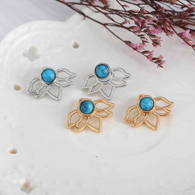 Up to 65% OFF -  - Vintage Lotus Flower Earrings with Blue Turquoise Stud | Wiki Wiseman