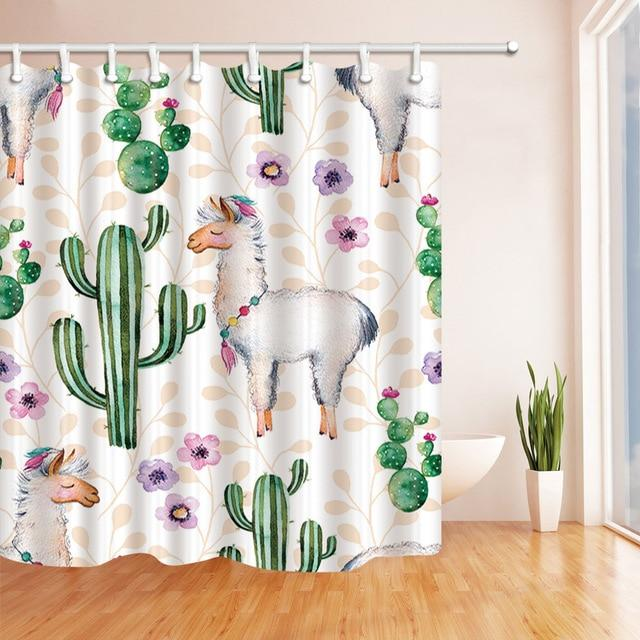 "Up to 65% OFF - Shower Curtains - ""Groovin Llama"" Floral Shower Curtain 