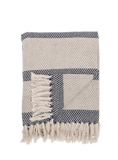 Wrightwood Blue Recycled Cotton Throw from Bloomingville