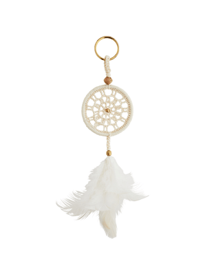 Dreamcatcher Keyring - White & Gold