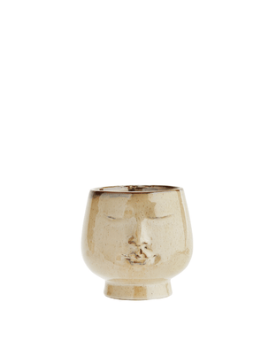 Beige Flowerpot with Face - Large