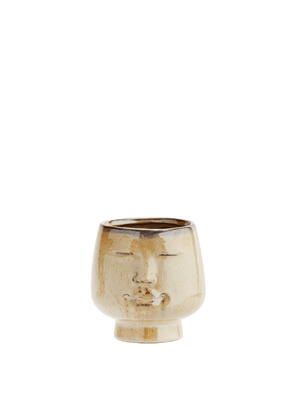 Beige Flowerpot with Face - Small