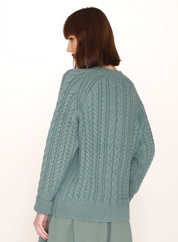 Cables Warm Jumper in Green from Pepaloves