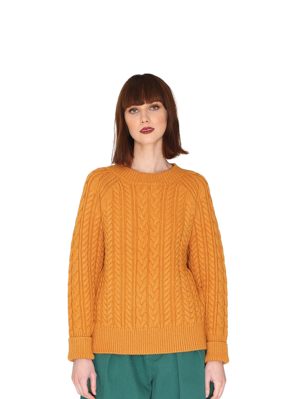 Cables Warm Jumper in Mustard from Pepaloves
