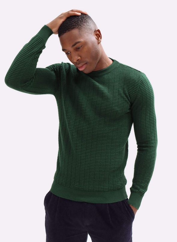 Vitor Ribbed Crewneck Jumper in Green from Far Afield
