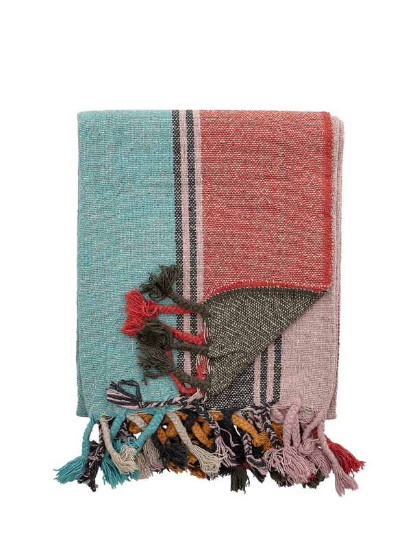 Multi Coloured Striped Throw from Bloomingville