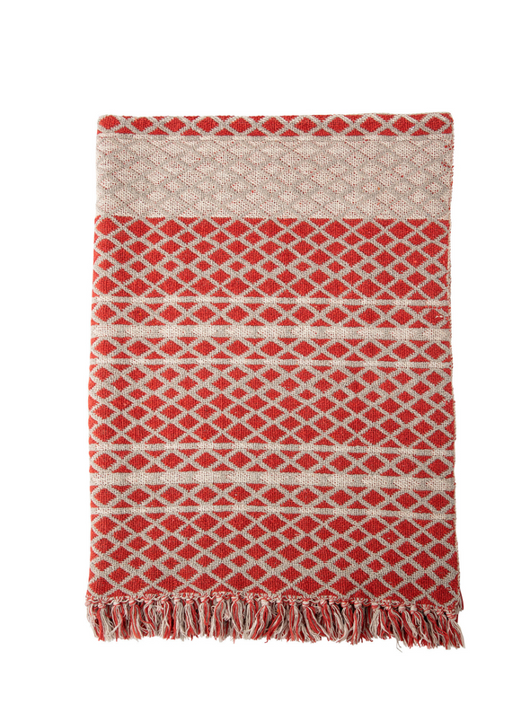 Red Recycled Cotton Throw from Bloomingville