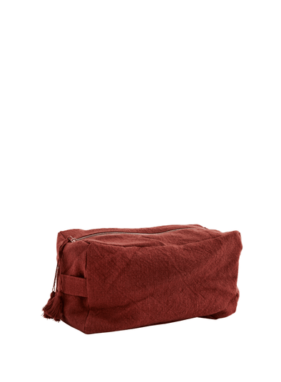 Cotton Toilet Bag with Tassels - Barn Red