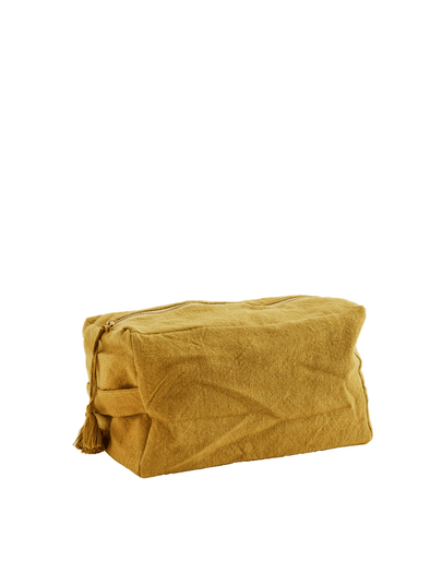 Cotton Toilet Bag with Tassels - Mustard
