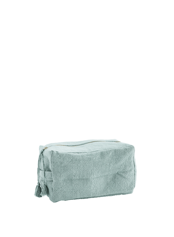 Cotton Toilet Bag with Tassels - Teal