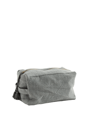 Cotton Toilet Bag with Tassels - Grey