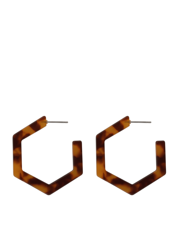 Chloe Resin Hexagonal Hoops in Brown