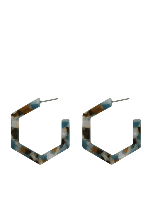 Chloe Resin Hexagonal Hoops in Multi Blue