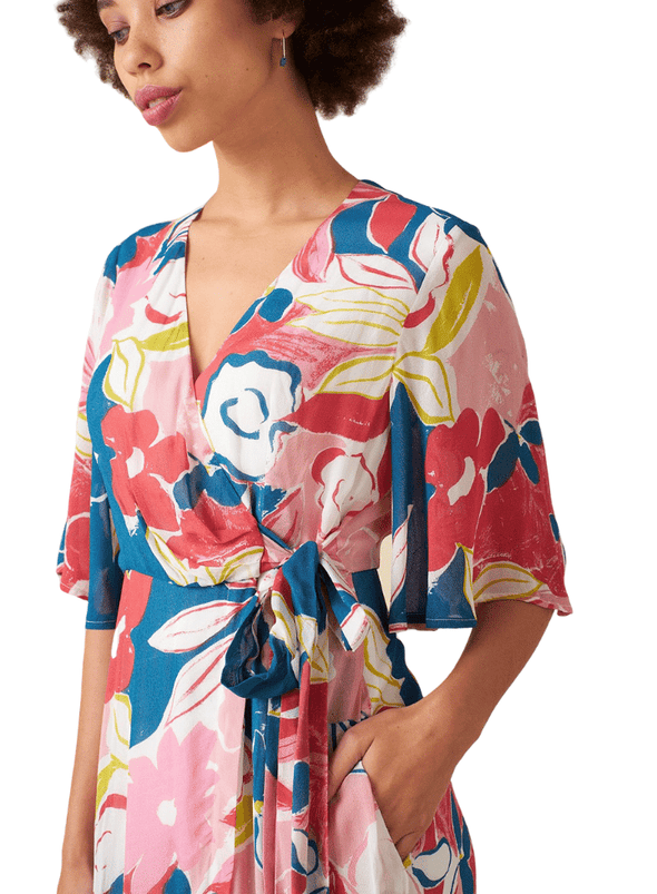 Chloe Wrap Dress in Pink Ashilah Floral print from Emily and Fin