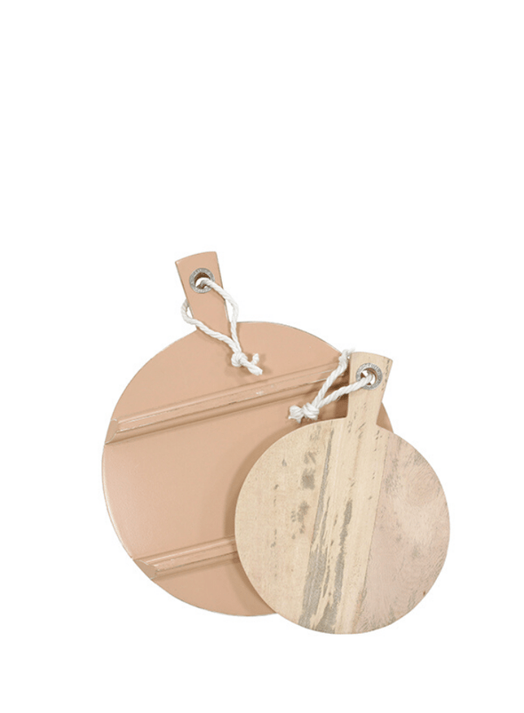Small Coloured Edge Round Serving Board - Nude