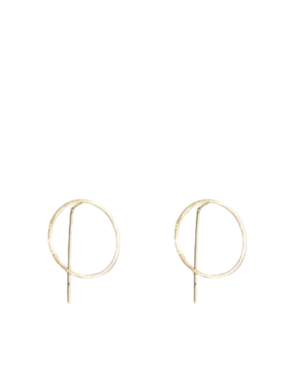 Harper Circle Pull Through Earrings in Gold