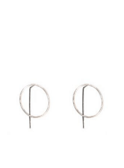 Harper Circle Pull Through Earrings in Silver