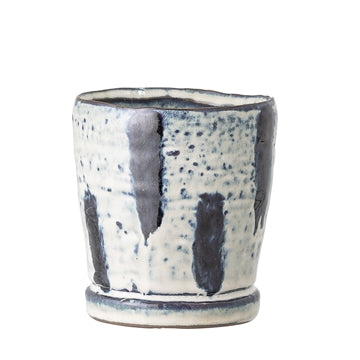 Blue and White Small Stoneware Flower Pot from Bloomingville
