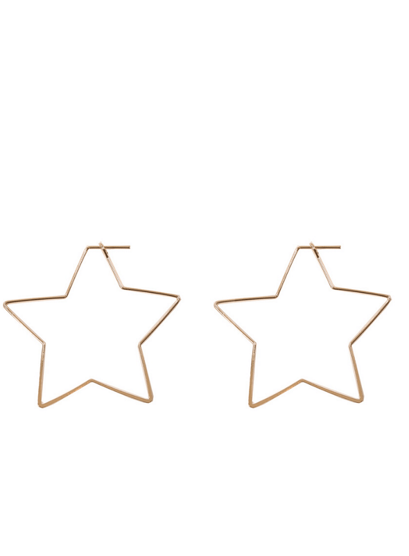 Iman Large Star Earrings in Rose Gold