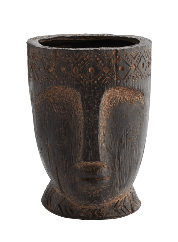 Fibre Clay Flower Pot with Face Imprint