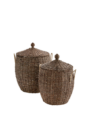 Manzanar Large Wicker Basket With Lid From Madam Stoltz