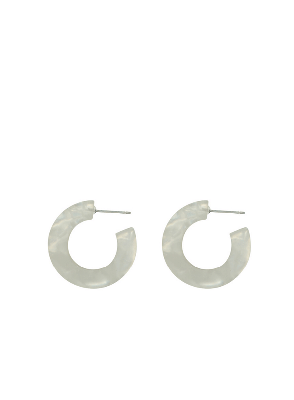 Odette Resin Tiny Hoop Earrings In White
