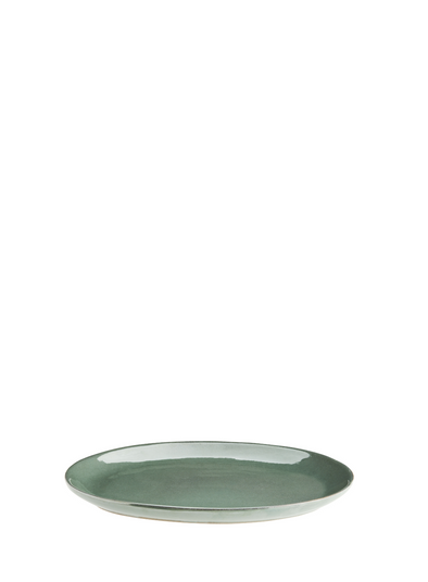 Oval Handmade Stoneware Plate in Sea Green from Madam Stoltz
