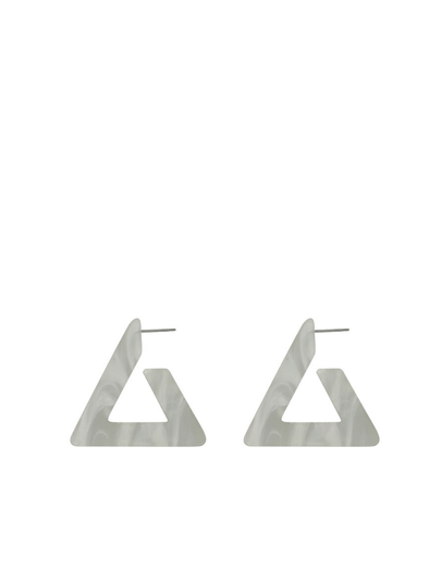 Petra Large Triangle Earrings in White