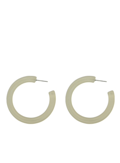 Petra Matte Resin Large Hoop Earrings in White