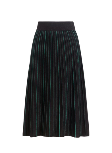 Pintuck Dazzle Stripe Skirt in Black from King Louie