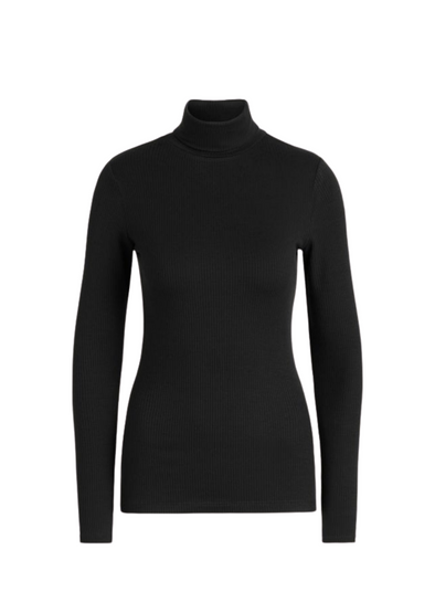 Rollneck Uni Rib Tencel Top in Black from King Louie