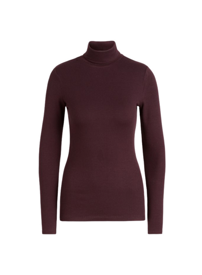 Rollneck Uni Rib Tencel Top in Grape Red from King Louie