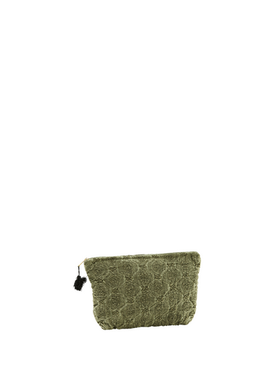 Small Embroidered Linen Wash Bag in Olive from Madam Stoltz.