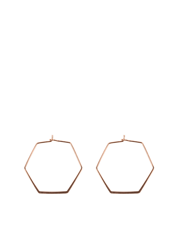 Small Iro Septagon Earrings in Rose Gold