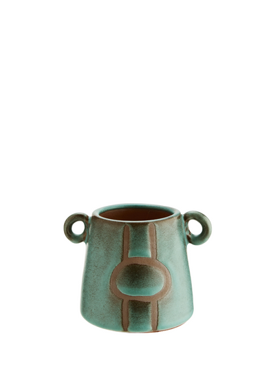 Small Terracotta Vase in Green & Natural from Madam Stoltz