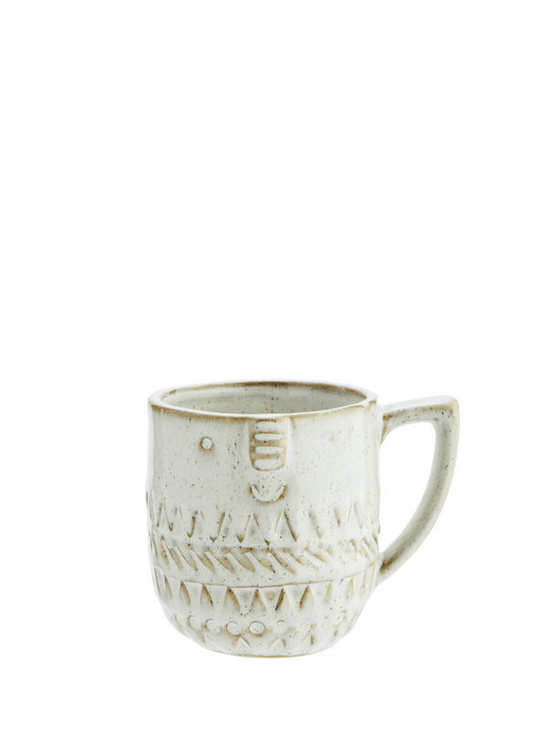 Stoneware Mug with Face in Off White from Madam Stoltz