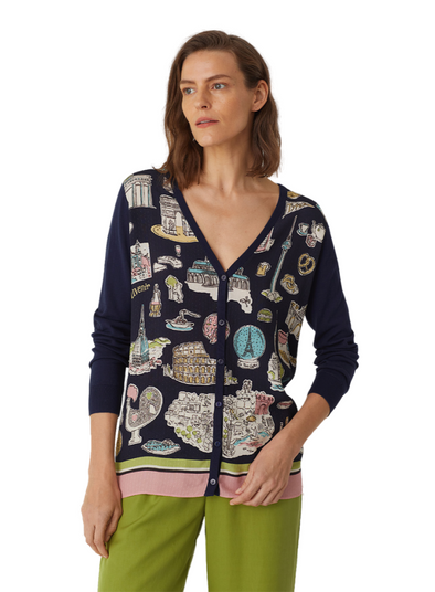 Typical Places Print Long V Neck Cardi from Nice Things