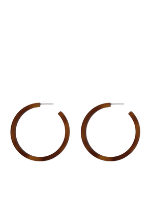 Zadie Resin Hoop Earrings in Brown